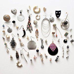 Huge pierced earring lot - singles